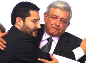 Andrés Manuel López Obrador y Martí Batres, jerarcas nacionales del MORENA. Protección descarada al cacique paranoico Gonzalo Yáñez.
