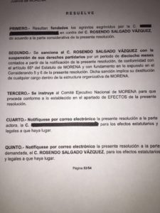 El documento que circula en redes sociales y que resuelve la destitución del dirigente estatal de Morena en Durango.