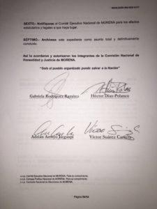 Las firmas de los integrantes de la Comisión Nacional de Honor y Justicia del partido Morena que suspenden los derechos partidarios de Rosendo Salgado Vázquez por dieciocho meses.