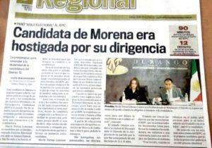 La denuncia de María Teresa Limones en los medios de comunicación de Durango. El 6 de abril de 2016 fue privada de su libertad y amenazada por Rosendo Salgado Vázquez para obligarla a renunciar a su candidatura a diputada local por el distrito 12 de Gómez Palacio.
