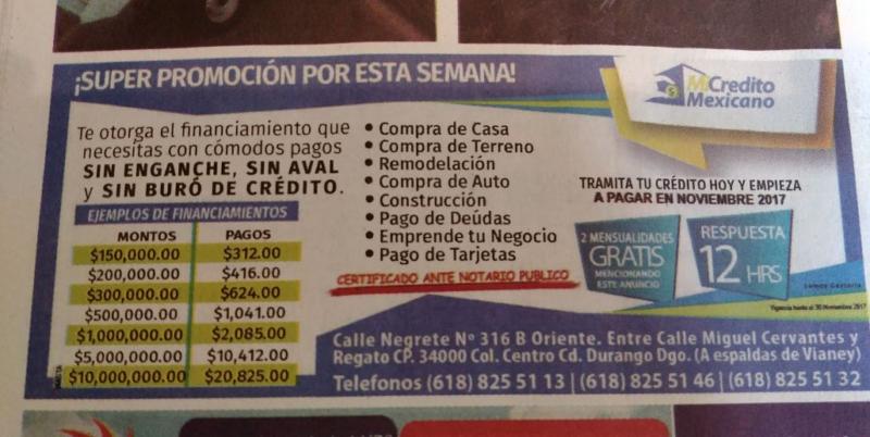 El anuncio que un conocido medio impreso de comunicación local de Durango sigue publicando en sus páginas.