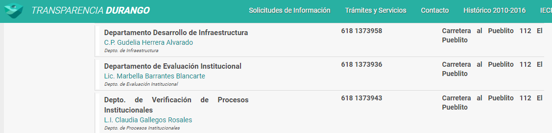 Marbella Barrantes Blancarte, también sin perfil, ocupa el cargo de Jefa del Departamento de Evaluación Institucional en el COBAED.