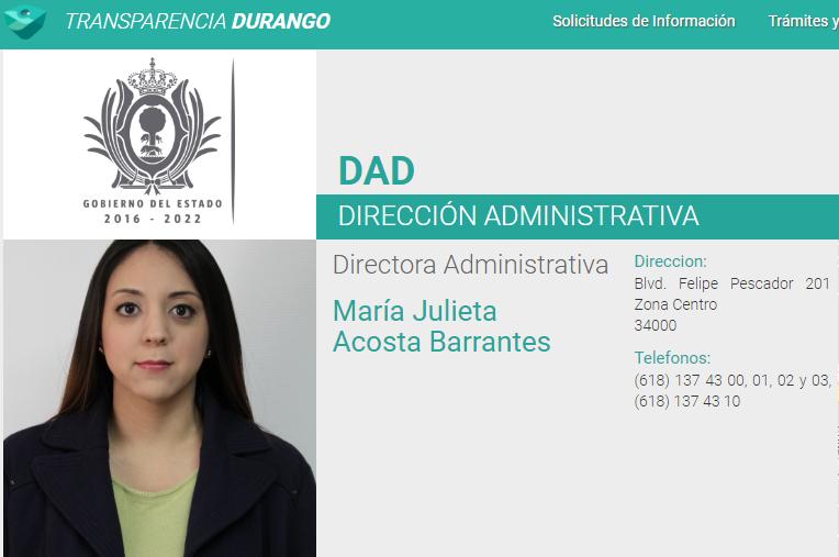 María Julieta Acosta Barrantes, sobrina de la esposa del gobernador Aispuro Torres, ocupa un alto cargo dentro de la COESVI.