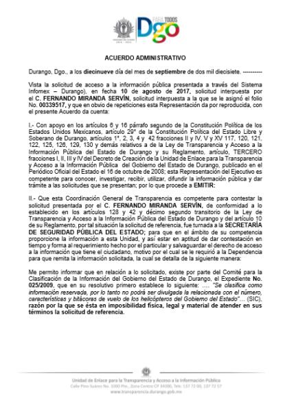 Documento mediante el cual la secretaría de Seguridad Pública del gobierno del estado de Durango, a cargo del Lic. Francisco Javier Castrellón Garza, niega información pública.